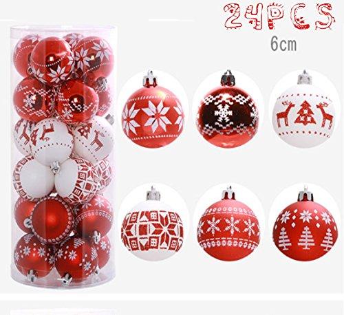24 Stück Weihnachtskugeln Box Christbaumschmuck aus Kunststoff bis 6 cm Glänzend Glitzernd Weihnachten Deko Anhänger, Rot und Weiß (Rot)