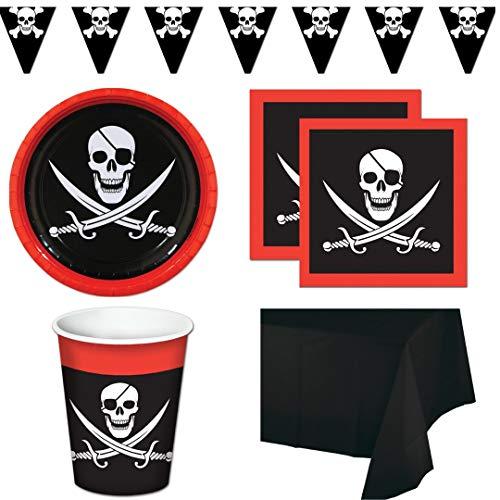 Piraten-Partyzubehör mit Totenkopf-Motiv für 16 Gäste: Teller, Servietten, Becher, 1 Tischdecke, Jolly Roger Thema, Wildblumen-Partyplaner -