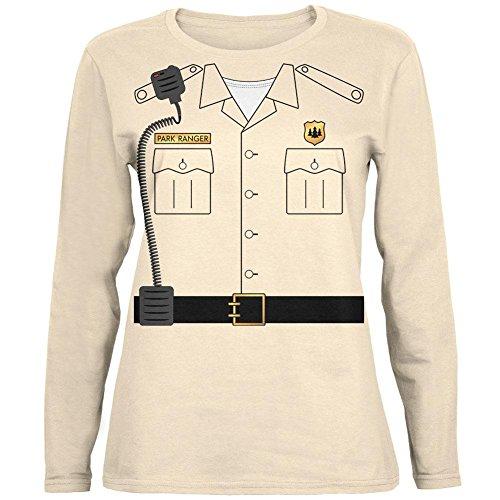 Halloween-Forest Park Ranger Kostüm Womens Long Sleeve T Shirt weiche Creme (Gelbe Ranger Halloween Kostüm)