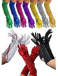 Foxxeo 1002X | Lange Deluxe Handschuhe | In den Farben schwarz, weiß, rot, pink, lila, gelb, grau, Silber, blau, Gold, grün | Weiss glänzend Lange Schwarze zum 20er Jahre rote Damen Kostüm