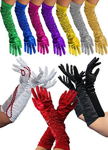 Dea Kostüm Zubehör - Foxxeo Lange Schwarze Handschuhe für Damen zum 20er Jahre Charleston Kostüm - Abendhandschuhe für KarnevalFasching Motto-Party