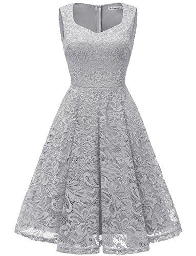 Gardenwed Damen Elegant Spitzenkleid Strech Herzform Abendkleid Cocktailkleider Partykleider Grey S