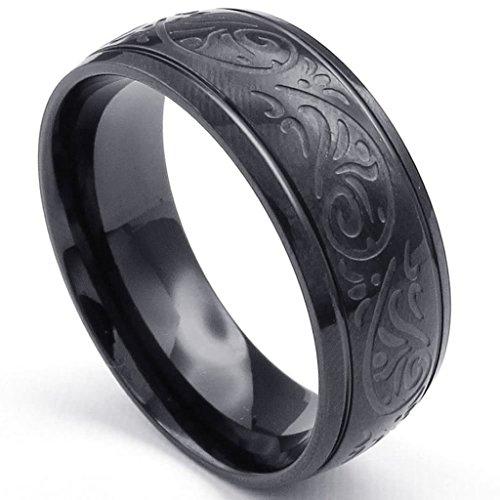 Bishiling Modeschmuck Edelstahl Ring für Herren Rund mit Gravur Muster Breite 8MM Schwarz Ring für Männer Ringgröße 54 (17.2) (Hobbit Kostüm Muster)