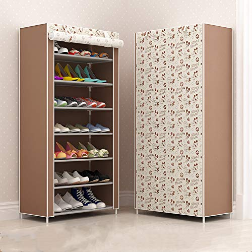 Qinqin666 Adjustable Shoe Storage Shoe Rack Organiser Shoe Space Saving, Easy Assemble Coffee 7th Floor