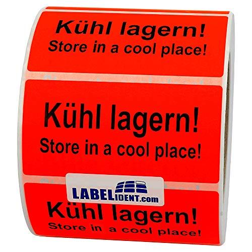 Labelident Warnetiketten (100 x 50 mm) - Kühl lagern! Store in a cool place! - 1000 Versandaufkleber auf Rolle, Papier leuchtrot, permanent haftend