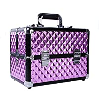 HST Professional Large Makeup Case Cosmetics Box 18 Compartments With Shoulder Strap Nail Polish Storage Lockable Makeup Organizer Vanity Case Makeup Train Case Diamond (Violet)
