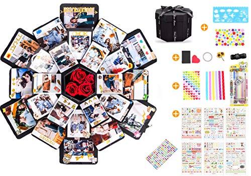 Sparta's Store Kreative Überraschung Box handgemachtes Scrapbook DIY Faltendes Fotoalbum,Explosions-Box, Gedenkalben, geschenkbox, Partygeschenke. (16 x 16 cm) -
