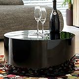 Couch-Tisch schwarz Hochglanz rund aus MDF | Durchmesser 60cm | Kuba | Moderner Wohnzimmer-Tisch in angesagter Hochglanz Lackierung