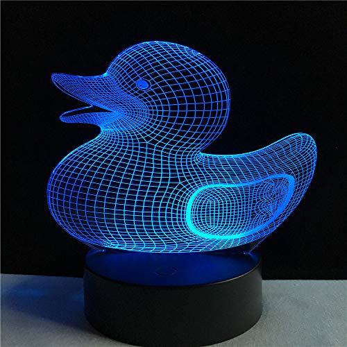 WangZJ 3d Illusion Lampe / 3d Kinder Nacht Lampe / 7 Farbwechsel Lampe/Kind Weihnachten Geburtstagsgeschenk/Spielzeug Geschenk/gelbe Ente (Schlüsselanhänger Fire Starter)