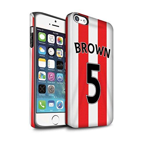 Offiziell Sunderland AFC Hülle / Matte Harten Stoßfest Case für Apple iPhone 5/5S / Pack 24pcs Muster / SAFC Trikot Home 15/16 Kollektion Brown