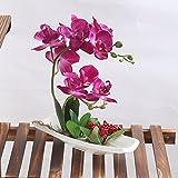 Alicemall Fiori Artificiali di Orchidea con Vaso, Decorazione Floreale per Matrimonio (Rosa)