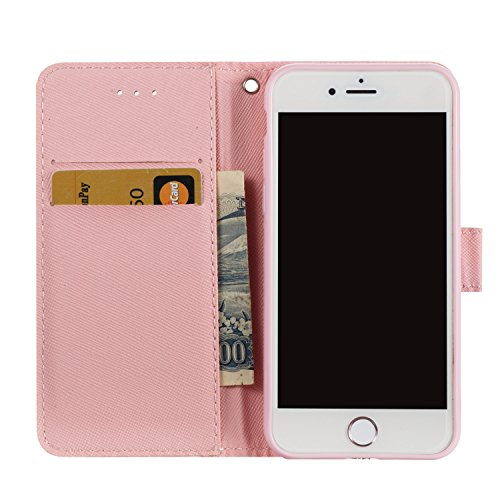 3D iPhone 6 Plus Hülle, PU Leder Hülle für Ledertasche Schutzhülle Case[Stand Feature] Flip Case Cover Etui mit Karte Slots Hülle für Apple iPhone 6 Plus (5.5 Zoll)+Staubstecker (6) 3