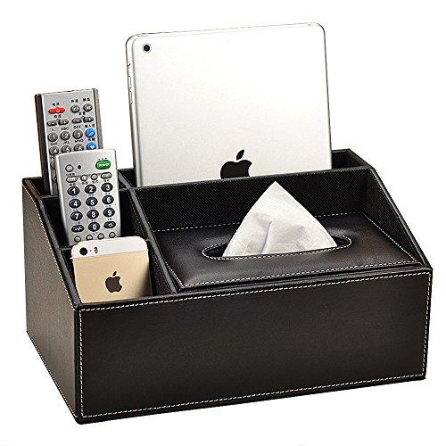 VANCORE Aufbewahrungsbox 4Fächer PU-Leder Fernbedienung-Halter Schreibtisch-Organizer schwarz