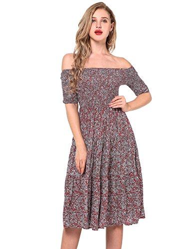 Yidarton Damen Kleid Sommer Maxi Kleider Kurzarm Trägerkleider Schulterfrei Cocktailkleider Floral BandeauKleid Partykleid Rot