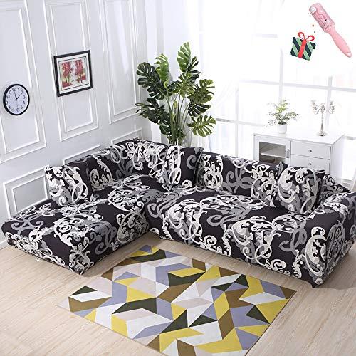 Elastisch Sofa Überwürfe Sofabezug, Morbuy Ecksofa L Form Stretch Antirutsch Armlehnen Sofahusse Sofa Abdeckung Hussen für Sofa Couchbezug Sesselbezug (3 Sitzer,Edel)