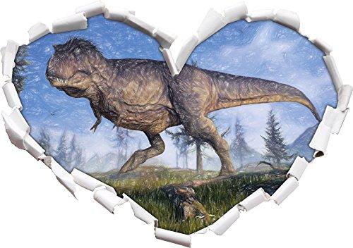 T-Rex Dinosaurier in der Natur Kunst Buntstift Effekt Herzform im 3D-Look , Wand- oder Türaufkleber...