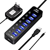 7 Port USB 3.0 Hub, ELEGIANT High Speed Switch USB 3.0 Datenhub 7 Port Hub Adapter Verteiler Datenübertragung Power mit 7 Schalter 5Gbps Data Transfer Ports Splitter AC Power Adapter with On/Off Switches für Win7/8/10 PC Mac Macbook Laptop Notebook Windows MAC iPhone, iPad, Samsung, Motorola, HTC und andere USB 3.0 kompatiblen Geräten (mit Netzteil)