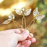handcess Hochzeit Haarnadeln gold leaf Strass Pin Haarschmuck Für Bräute und Brautjungfern (Set von 3)