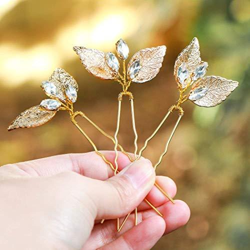 Natur Kostüm Elemente Der - handcess Hochzeit Haarnadeln gold leaf Strass Pin Haarschmuck Für Bräute und Brautjungfern (Set von 3)