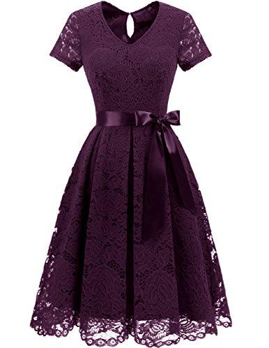 DRESSTELLS Damen Elegant Abendkleider für Hochzeit Herzform Spitzenkleid Cocktail Party Floral Kleid Grape 2XL