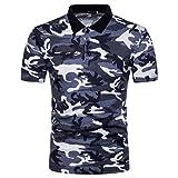 Slim Fit Herren Hemd Model ,Sannysis Herrenhemd Herren Polo Shirt Lässig Camouflage Print Umlegekragen T-Shirt Top Bluse (XXL, GRAU)
