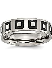 ICE CARATS Titanium Enameled Flat 6mm Wedding Ring Band Fancy Fashion Jewelry Gift Set For Women Heart