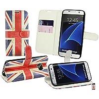 Emartbuy® Union Jack Premium PU-Leder Desktop-Ständer Wallet Schutzhülle Beutel mit Kreditkarte Slots für Samsung Galaxy S7Edge