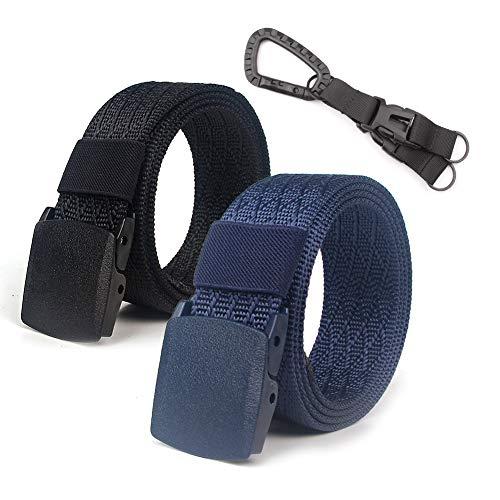 2 Pack Nylon Gürtel Männer Tactical Gurtband Gürtel Atmungsaktiv Military Web Gürtel Outdoor Gürtel mit Keine Metallschnalle (Schwarz + Blau) -