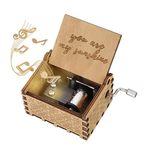 Hölzerne Spieluhr You Are My Sunshine Handkurbel Spieluhren Antike Geschnitzte Musik Box Holz für Geburtstags Valentinstag Weihnachten Geschenk -