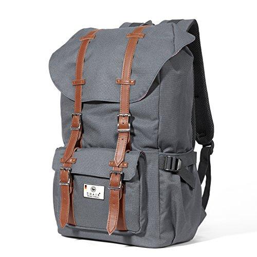 Shaik® Serie: Camper, SHR002 | Unisex Rucksack, 4 Farben Business Studenten Multifunktionsrucksack, Nylon 600D Polyester/ Linen (Grau)
