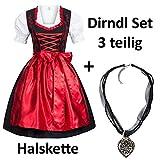 Dirndl Set 4 tlg. Trachtenkleid schwarz mit roter Stickerei leuchtende Farbe