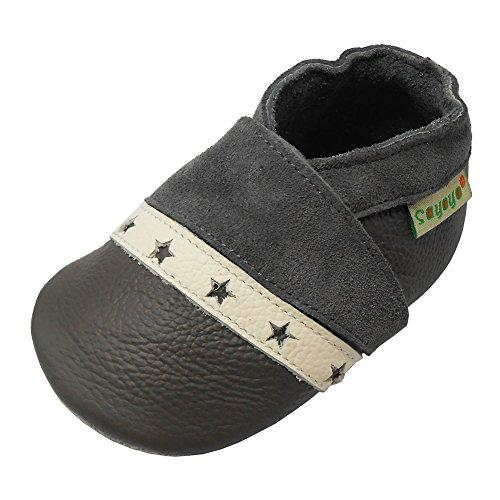Sayoyo Premium Weich Leder babyschuhe junge krabbelschuhe mädchen (Grau Stern,12-18 Monate)