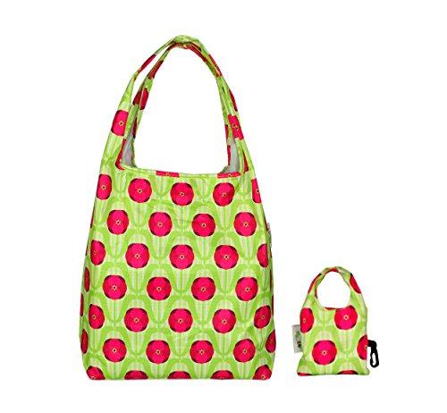 re-uz-water-resistant-shopping-henkel-tasche-verde-green-poppies-taglia-unica