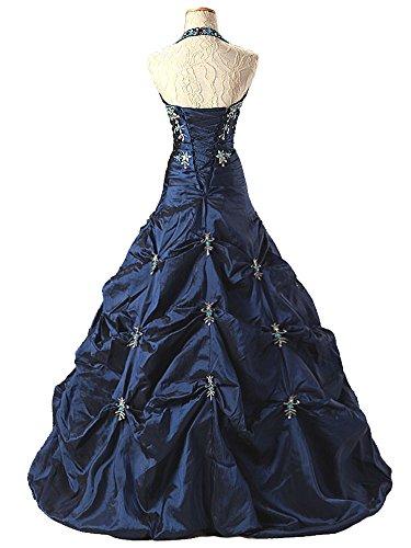 Vantexi Damen Taft Halfter Abendkleid Ballkleid Partykleid Schwarz