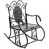 Songmics Mecedora de hierro Sillón de relax para jardín balcón salón Estilo retro GRC101B