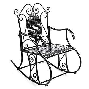 Songmics feuteuil chaise bascule en fer pour balcon for Schaukelstuhl sims 3