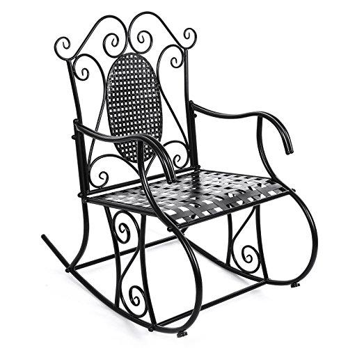 SONGMICS Garden Rocking Chair, Patio Relax Chair, Metal, Black, GRC101B