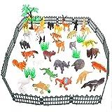 Bloomma Animali da Fattoria, 53PCS Giungla Animali Giocattoli Set Animali Selvatici Figure Eco, Non tossico Giocattoli educativi di apprendimento per Bambini Animali Playset