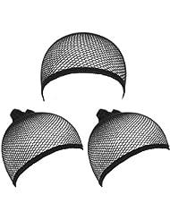 3 Pcs Cheveux Chapeaux Bonnet Perruque Déguisement Elastique Femme Homme-Noir