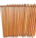 Lumanuby 18 paires Aiguilles Bambou a Tricot Laine Kit d'aiguilles à Tricoter Pointe Unique en Bambou 2-10 mm /Longueur 35cm