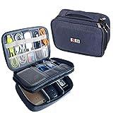 BUBM Mehrfachfunktion Kabelorganiser Tasche Reisetasche mit Doppelschichten für Elektronische Zubehöre Wie Netzteil, Maus und USB Stricks(Mittel, Dunkelblau)