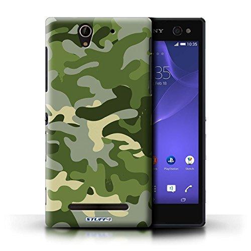 Kobalt® Imprimé Etui / Coque pour Sony Xperia C3 / Rose 1 conception / Série Armée/Camouflage Vert 1