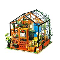 DWLXSH DIY Dollhouse Wooden Miniature Furniture Kit Mini Green House Best Birthday Gifts for Women and Girls,Puzzle Toy Model Kits Toys