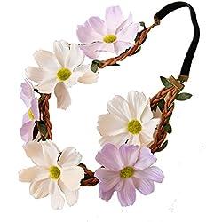 Sumolux 1 Coronas de Flores Diadema de Flores Adorno de Pelo Accesorio para Cabeza Girnalda Floral Estilo Boho Para Niña Chica Mujer Fiesta Boda Viaje Fotografía Multicolor
