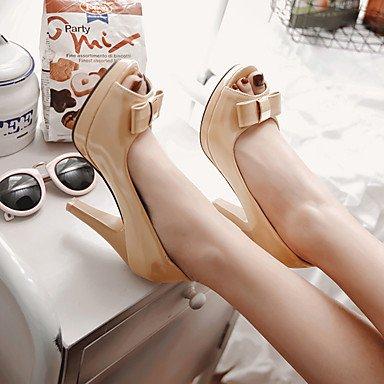 LYNXL Talloni delle donne Primavera Estate Autunno Altro Patent Leather Dress Party & Sera casuale tacco a spillo di Bowknot Rosa Bianco Beige Beige