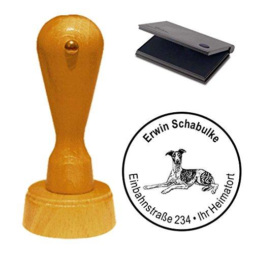 Stempel mit Kissen « WHIPPET » Hund Haustier Windhund Greyhound -
