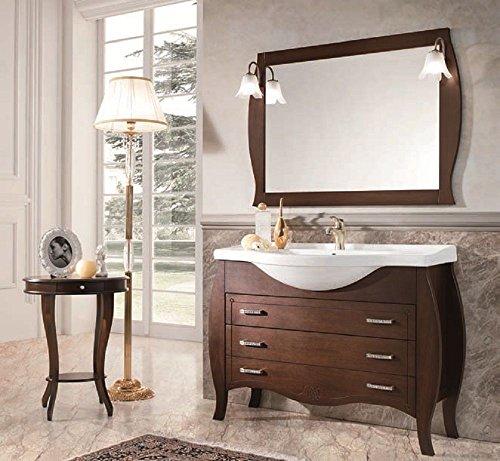 Lechic arredamenti arredo bagno 105 classico mobile bombato noce specchio e cassettoni