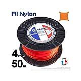 Fil débroussailleuse nylon carré 4mm par 50m en bobine couleur orange
