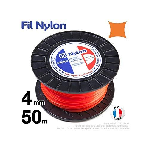 Hilo Desbrozadora Nylon Cuadrado 4mm par 50m bobina