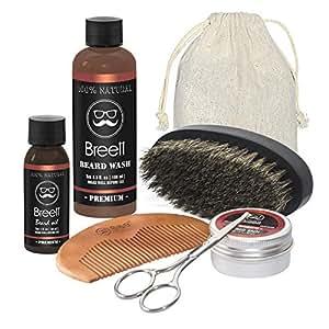 Kit de Soins de Barbe, Breett huile à barbe kit 6 pcs,Huile à barbe naturel, Lavage de la barbe, Un ciseaux à barbe acier inoxydable, Un peigne à barbe, Une brosse à barbe en Soie de Porc